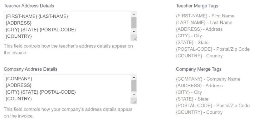 Options for merge tags for teachers creating invoices