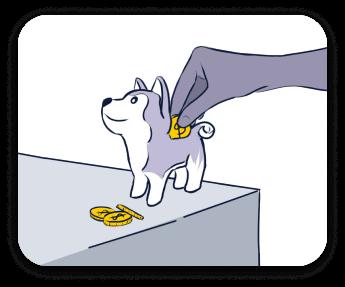 Cofrinho de dinheiro em formato de husky