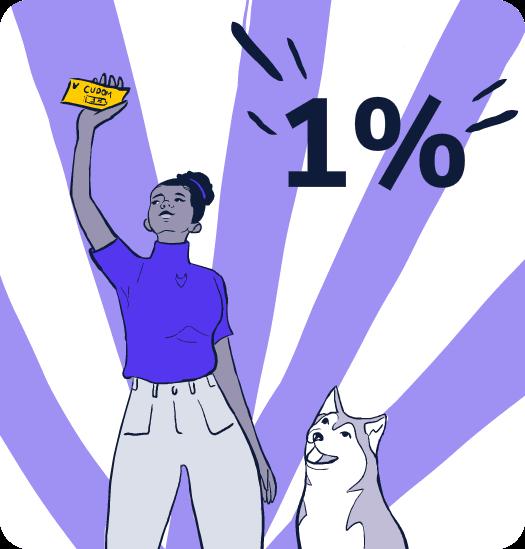 Ilustração de uma mulher feliz por ter recebido dinheiro pelo app da husky