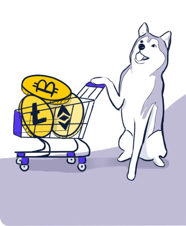 Husky carregando carrinho cheio de bitcoin