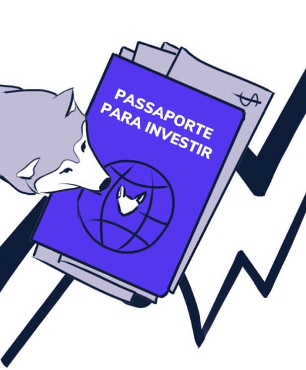 Husky olhando passaporte