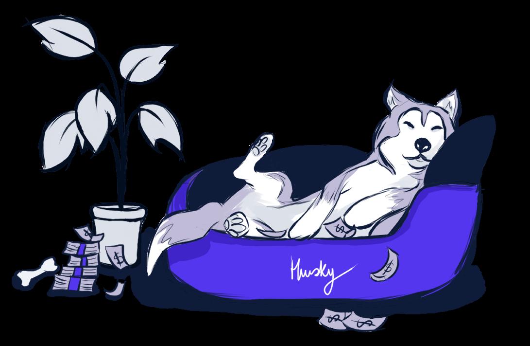 Husky relaxando ao lado da planta