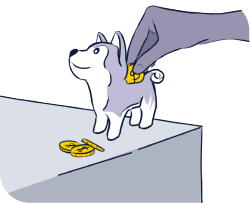 Ilustração de um cofre com formato de husky