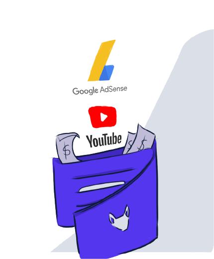 Ilustração de carteira recebendo dinheiro do youtube e adsense