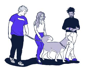 Amigos passeando com um husky