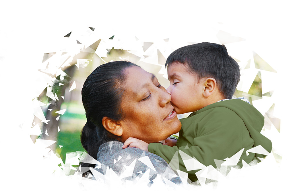 a Native American woman and young boy.