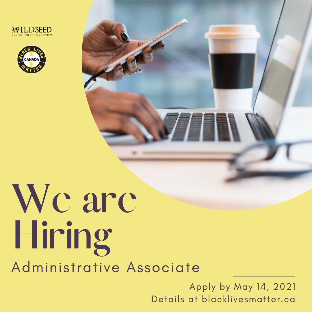 Alt Text for image above: We are hiring an Administrative Associate. Apply by May 14, 2021.