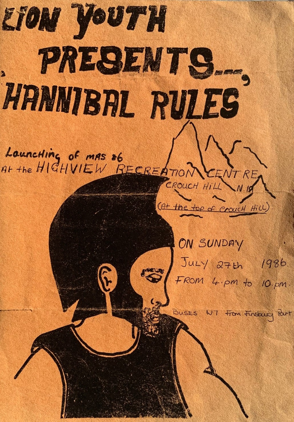 Hand-drawn flyer printed on yellow paper depicting individual dressed as Hannibal.