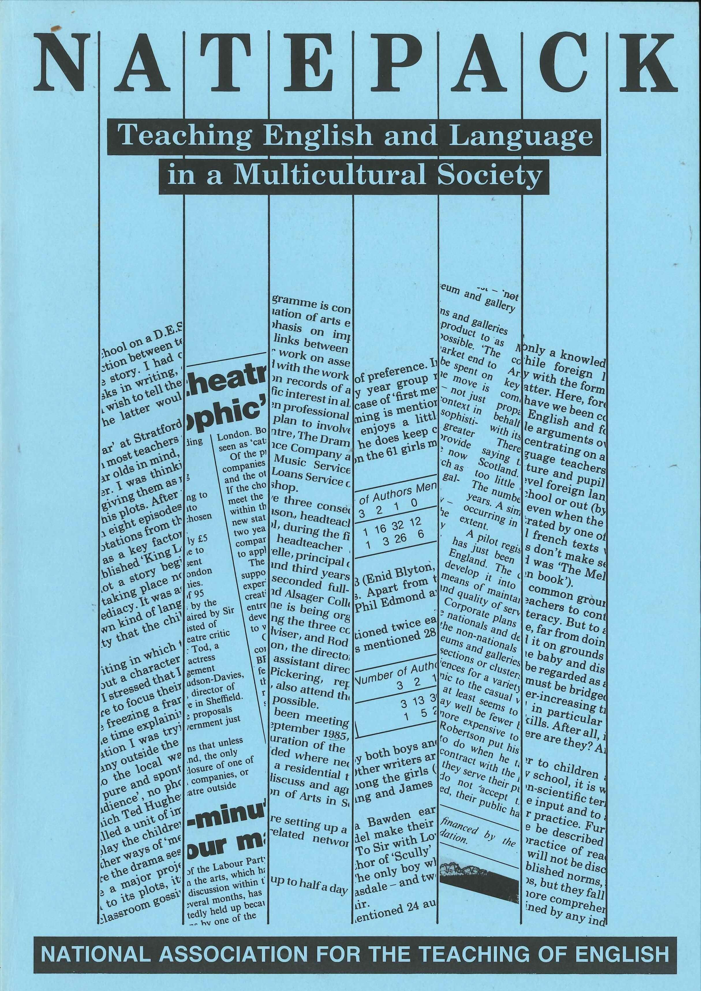 Publication titled NATEPACK: Teaching English and Language in a Multicultural Society. Front cover, with black text on a blue background.