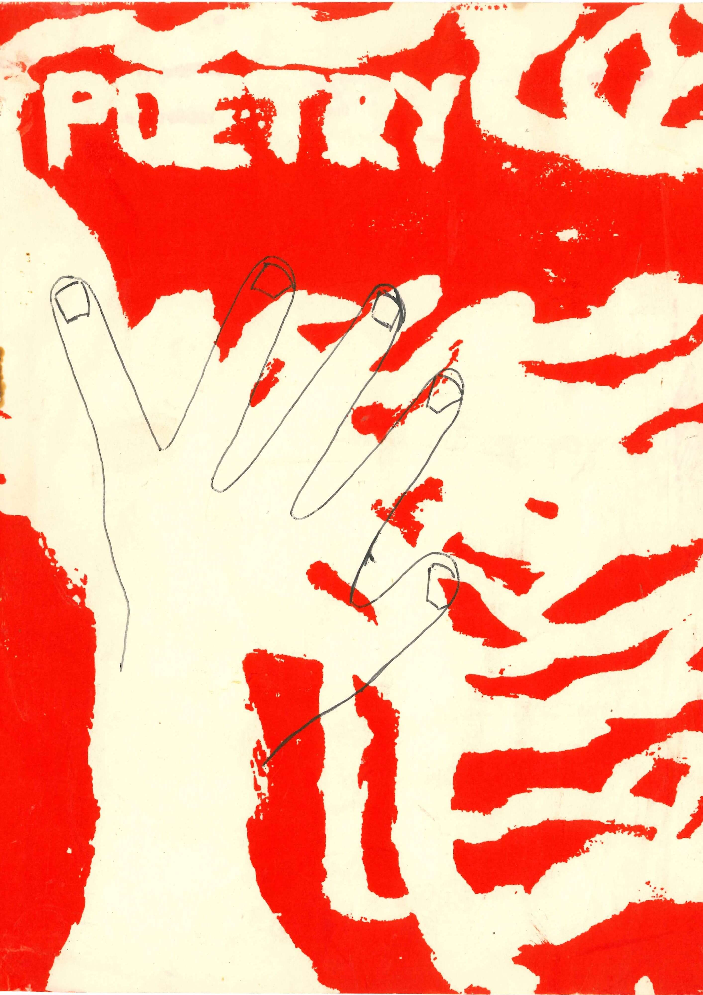 Front cover, showing hand painted abstract design in red and white, with the outline of a hand drawn across the front.