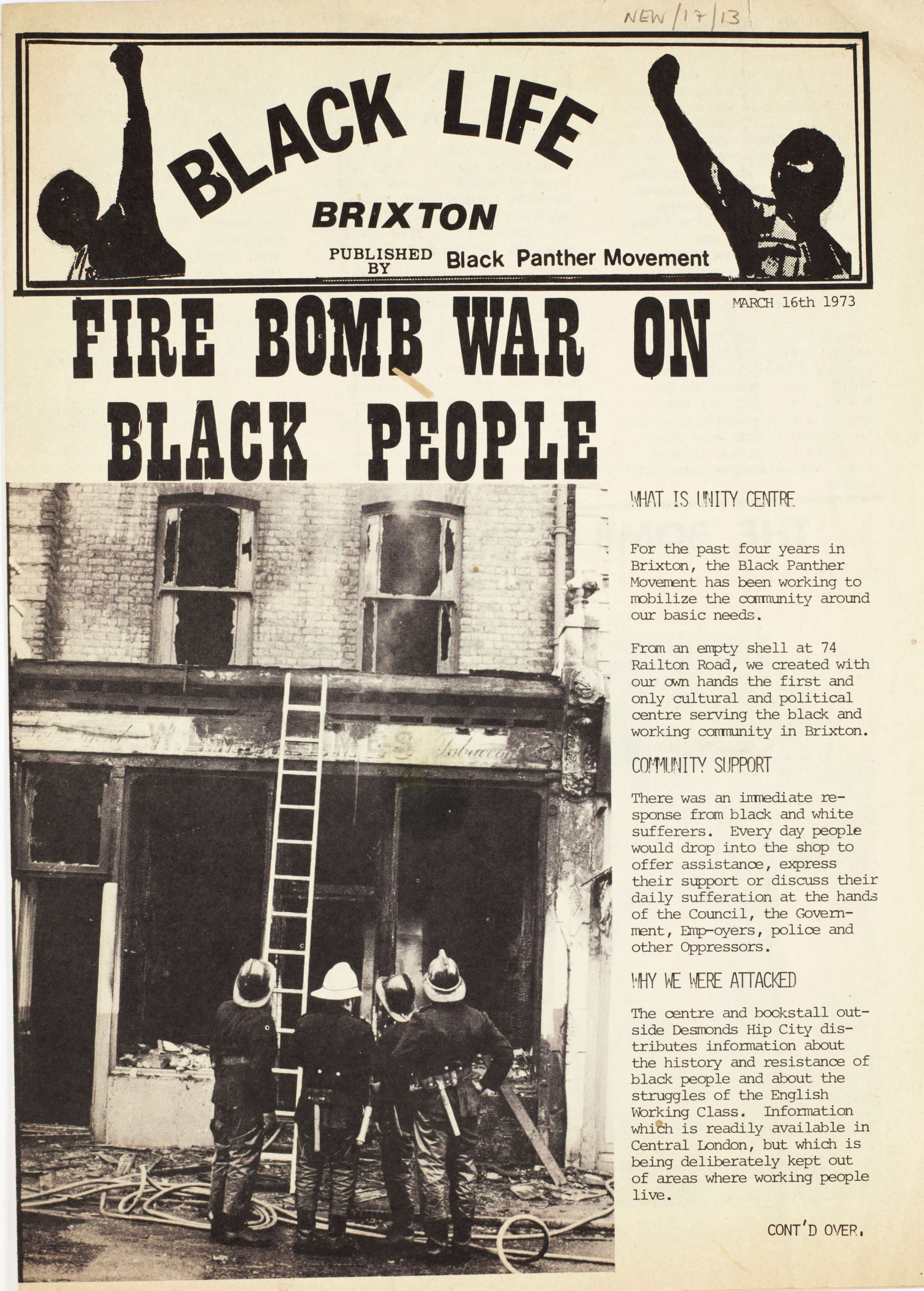 Front cover shows a group of firemen looking up at the burn out shell of the Unity Centre following a fire-bomb attack on the bookshop.