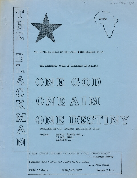"""Blue cover of journal, with the sketch of a black star and the outline of Africa. The title 'The Blackman' runs vertically down the left-hand side, balanced by the words """"One God, One Aim, One Destiny"""" which dominate the cover."""