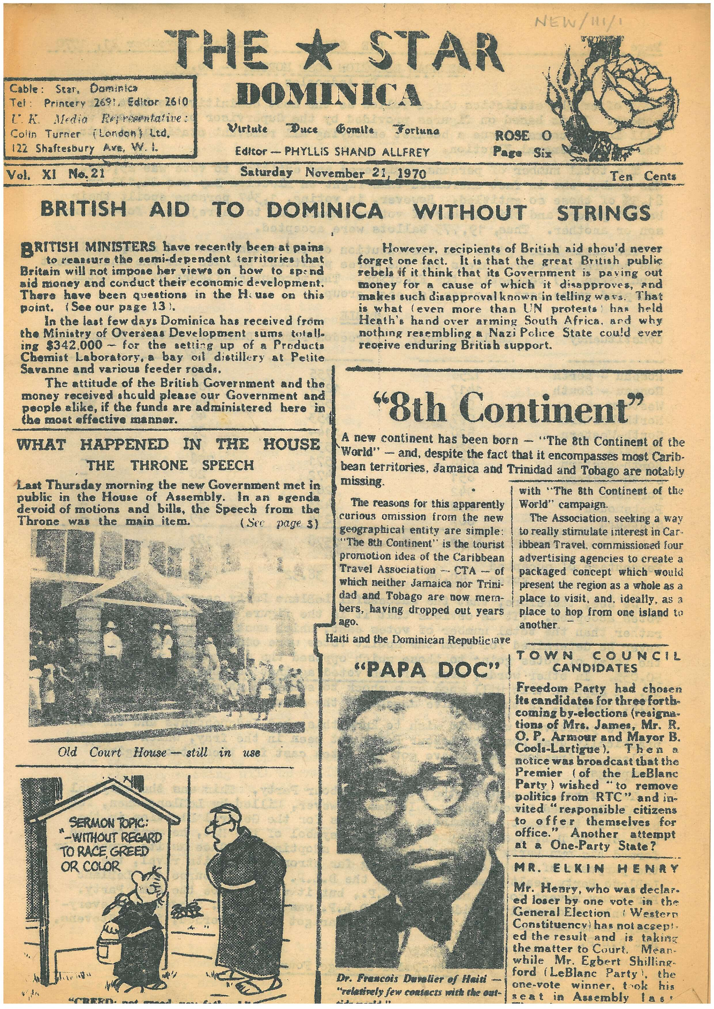 Front cover of the newspaper, with the headline 'British Aid to Dominica Without Strings'.