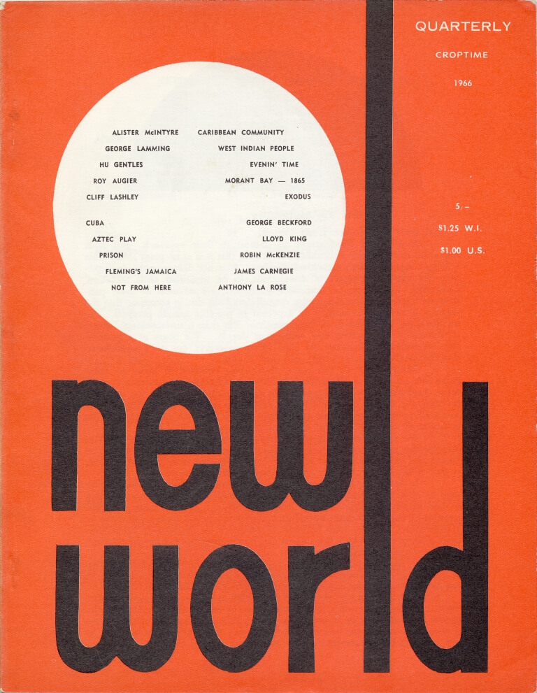Red cover with a white disc suggesting a sun setting or a full moon rising. The title 'New World', in black text, is in lower case, with the 'l' of 'world' shown as a vertical line running to the top of the cover.