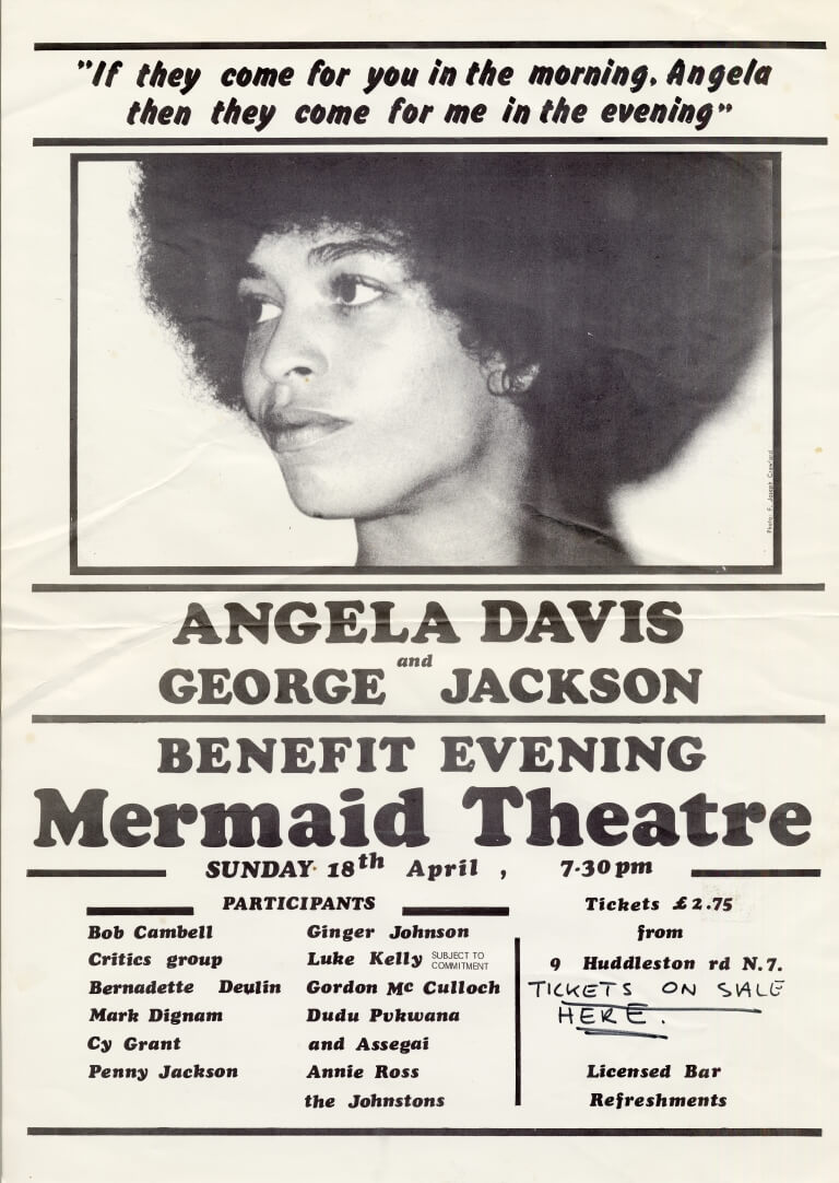 Flyer printed on white paper with a photo of Angela Davis at the top, together with a quotation. Flyer lists participants in the benefit evening. Someone has written 'Tickets on sale here' onto the flyer, suggesting it was on display at some point prior to the event.,