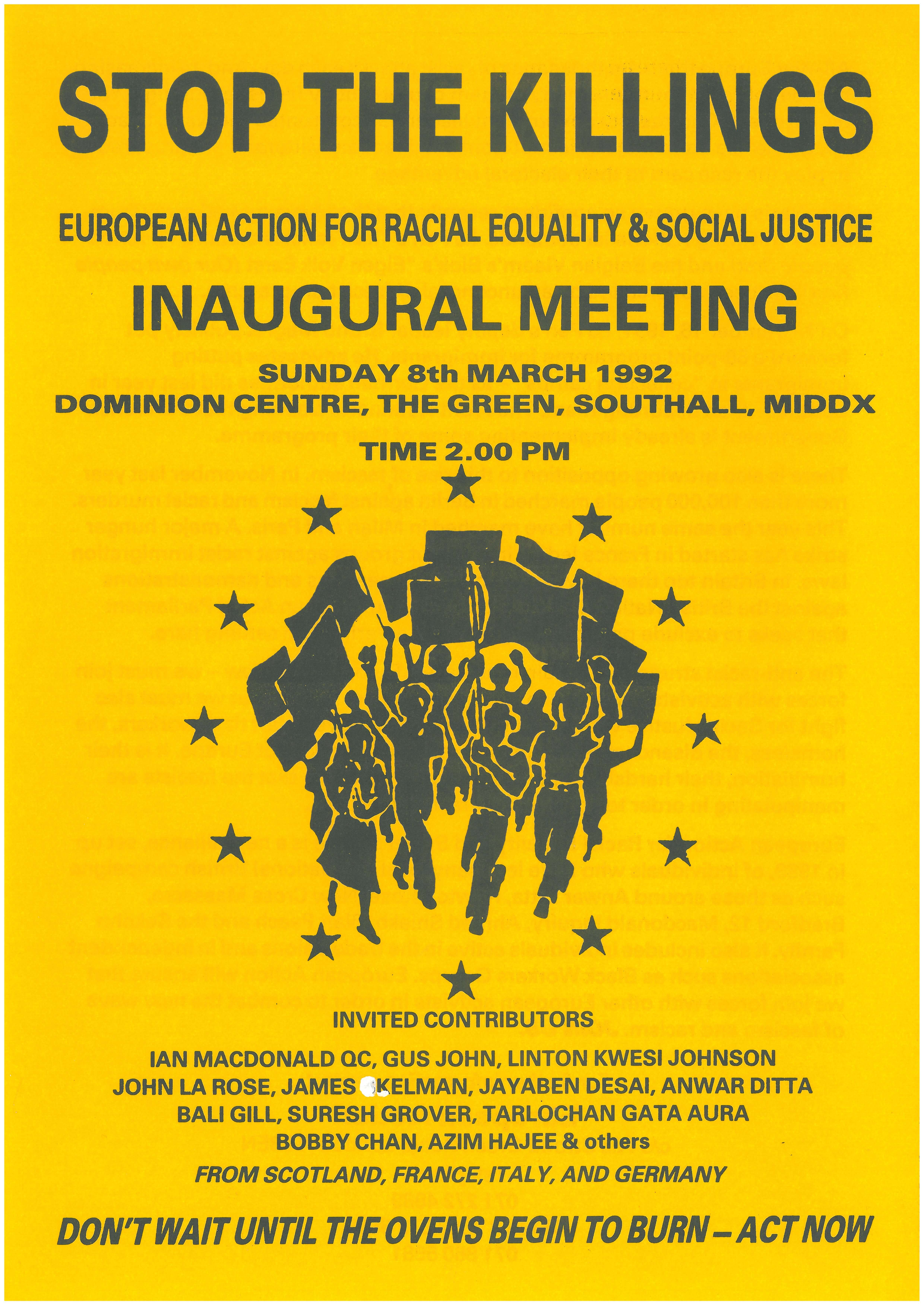 Flyer on yellow paper with black text and logo. Headed 'Stop the Killings'. It carries the European Action logo, a group of people marching forwards, waving flags.