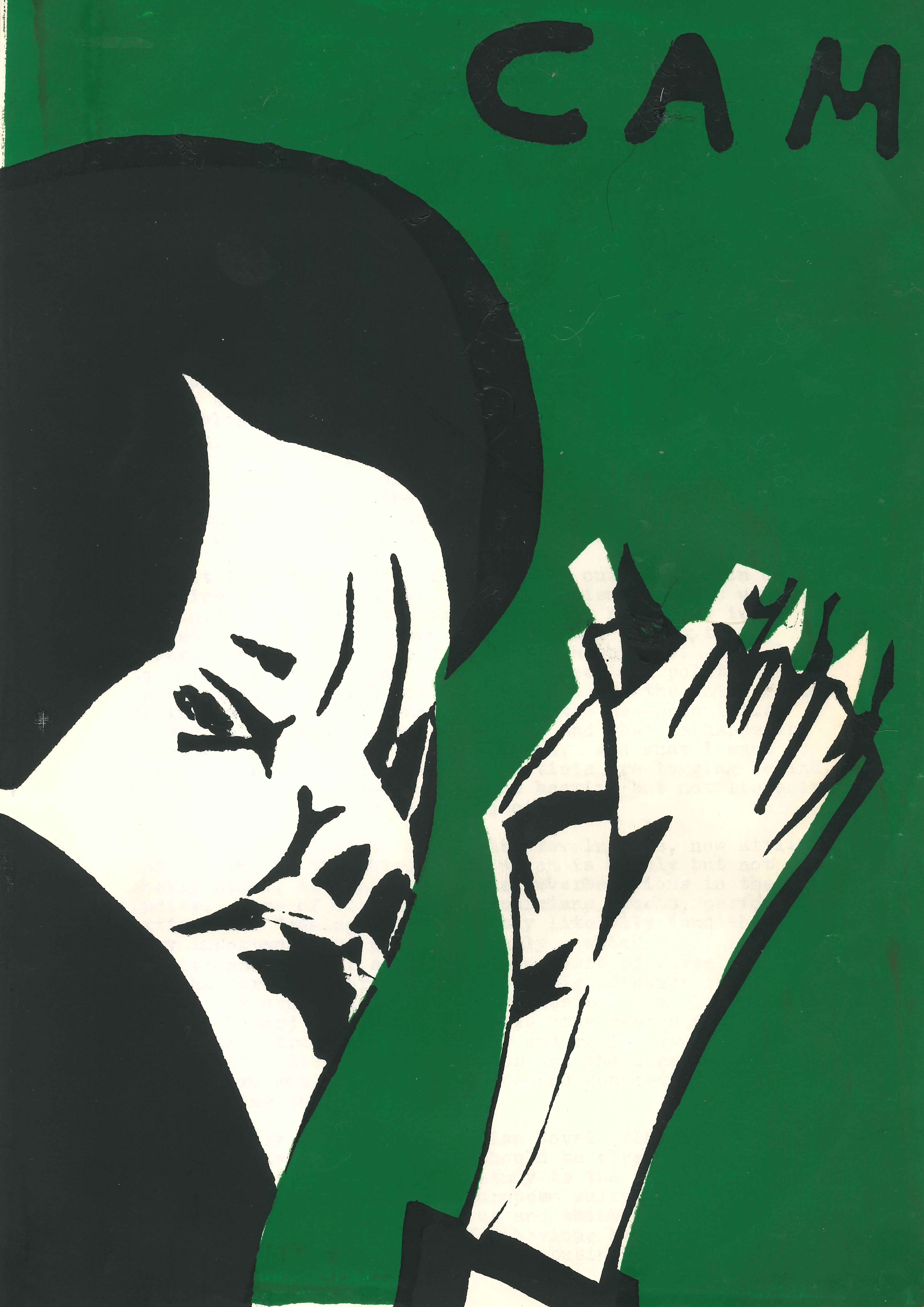 Newsletter cover in green, with a face and hands created in black and white as if to depict someone clapping. The 'CAM' acronym appears in black at the top of the page. The cover is painted using stencils or similar.