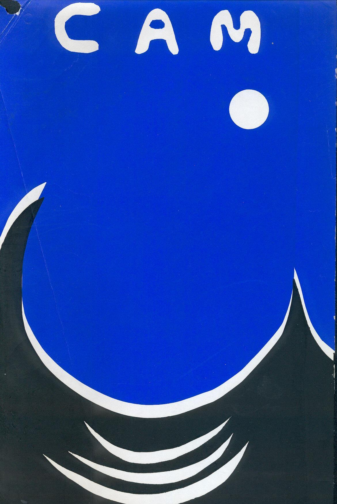 Newsletter cover in a vivid blue, with a white moon and black and white wave patterns, suggesting a moon shining over a tropical sea. The acronym 'CAM' is written in white at the top of the page. The cover is painted using stencils or similar.