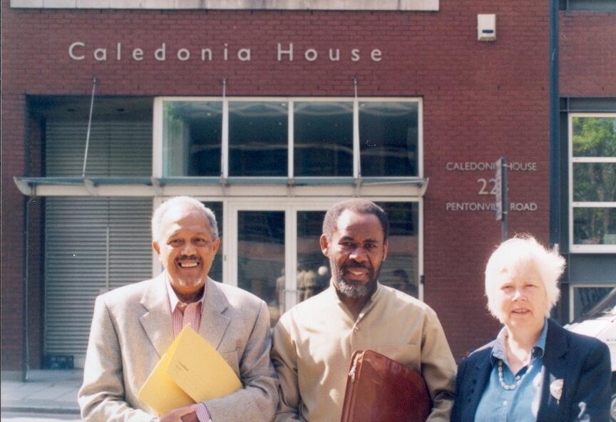 Photo of GPIJ co-founders John La Rose, Gus John and Sarah White