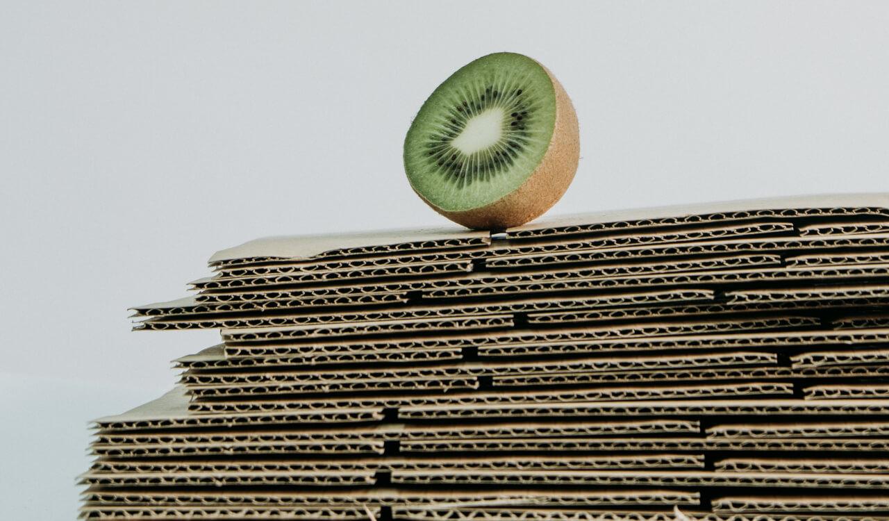 half a kiwi on a pile of cardboard
