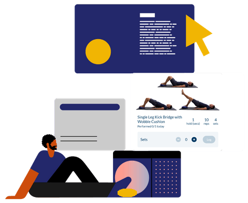 Animated image of a person copying an exercise on MobilityHub