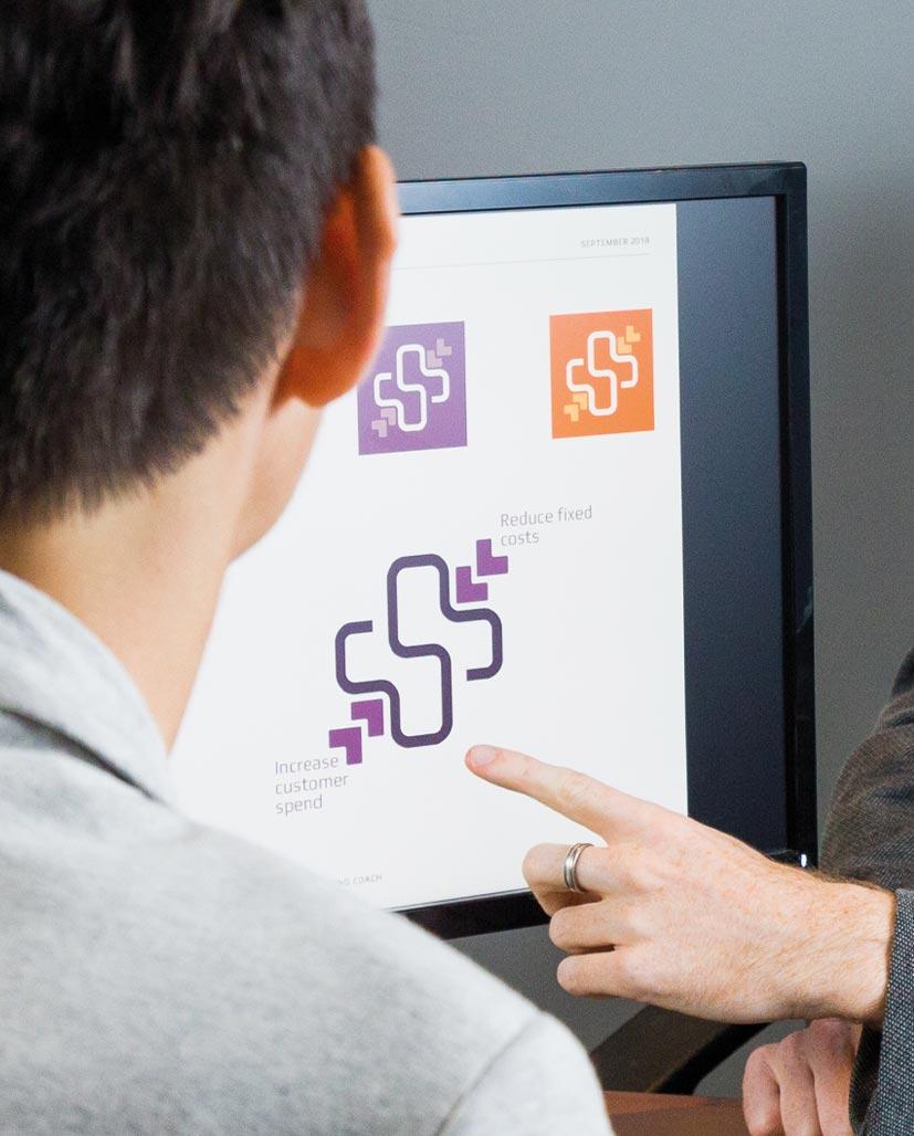 Showing a client a logo concept