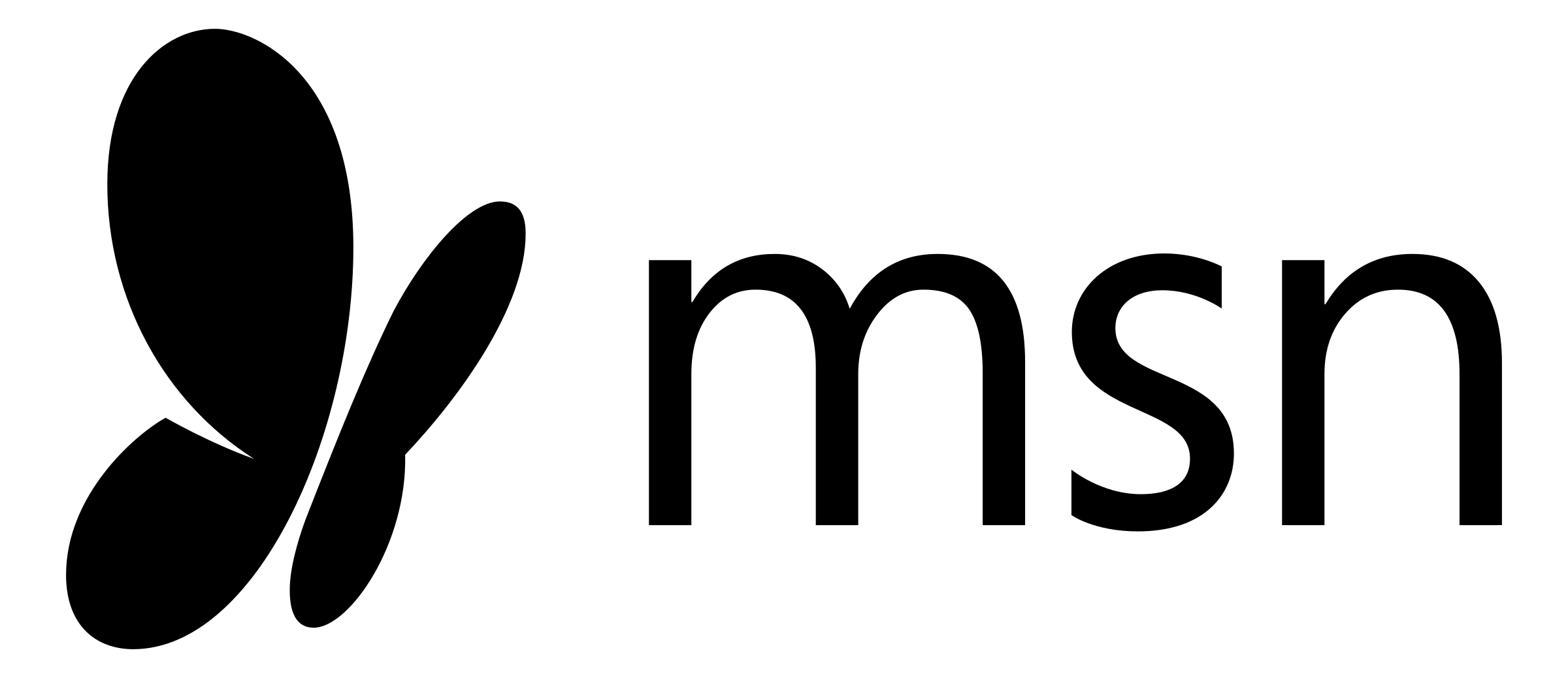 Transparent MSN logo in black.