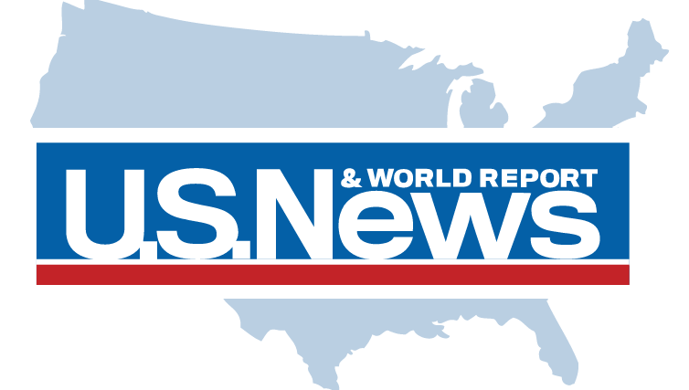 US News and world report logo with us map in background.
