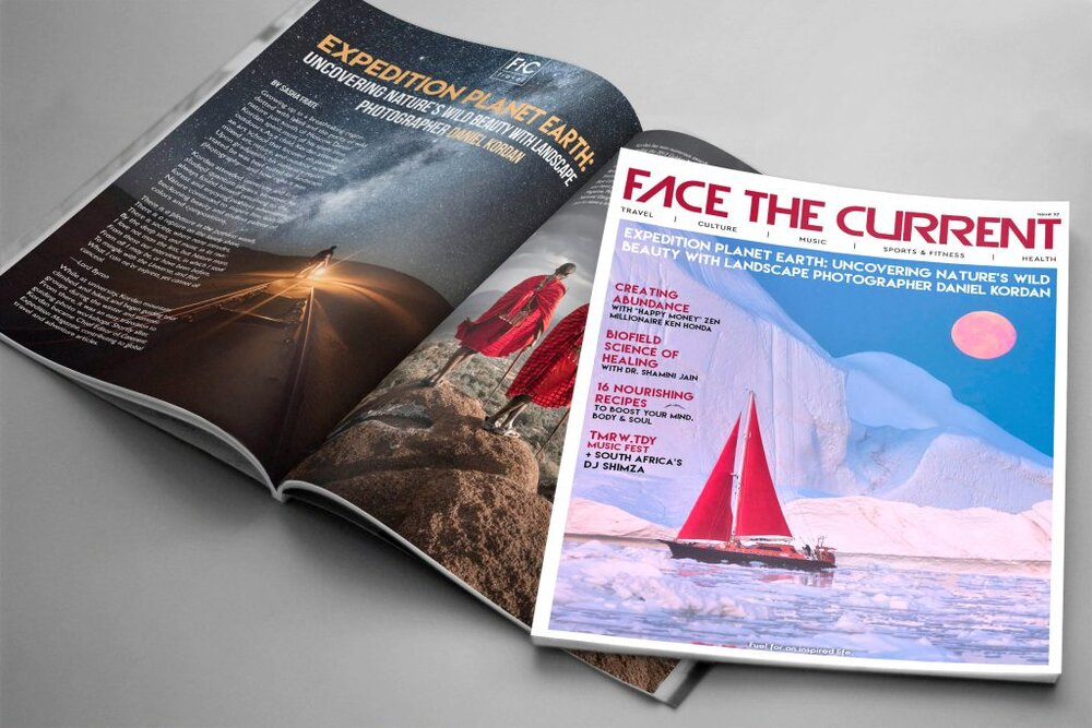 Magazine mockup for Face the Current.