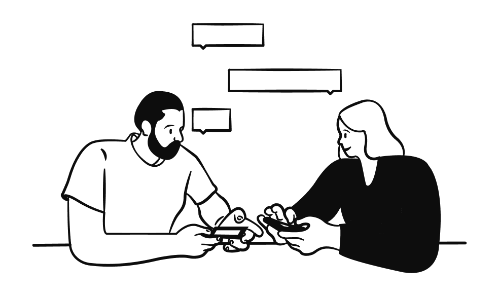 Two people at work engaging