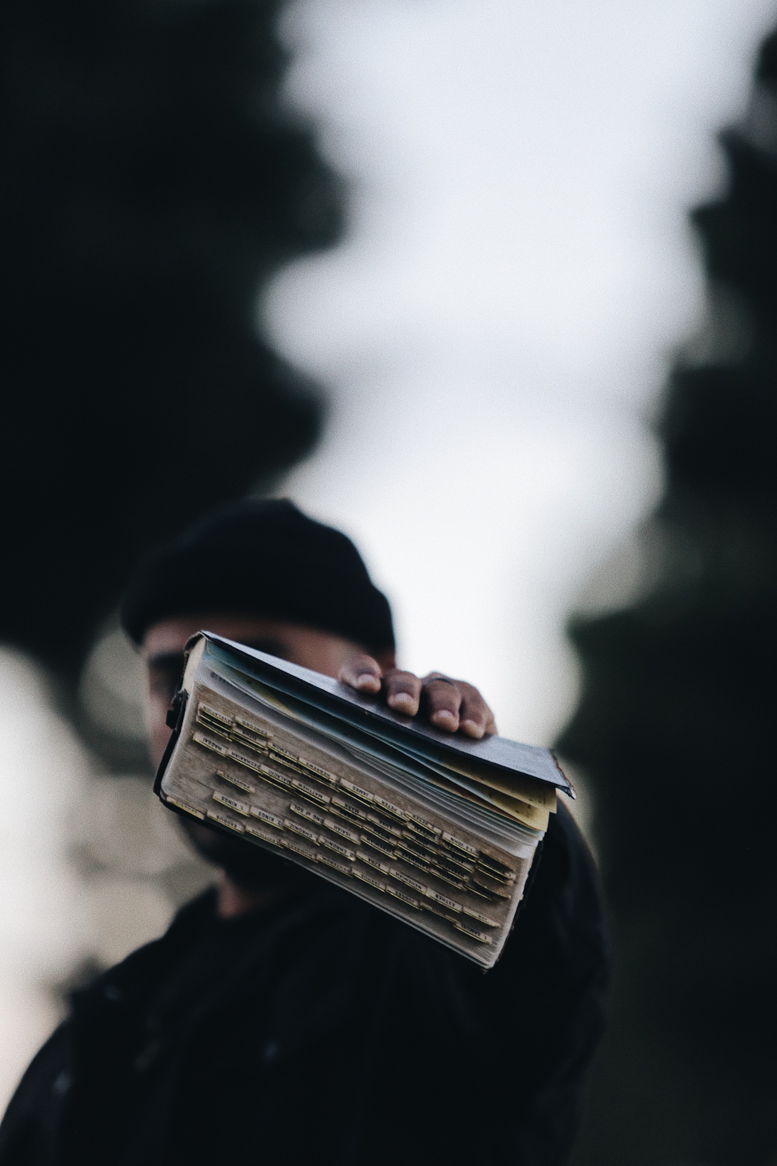 Man holding the Bible.