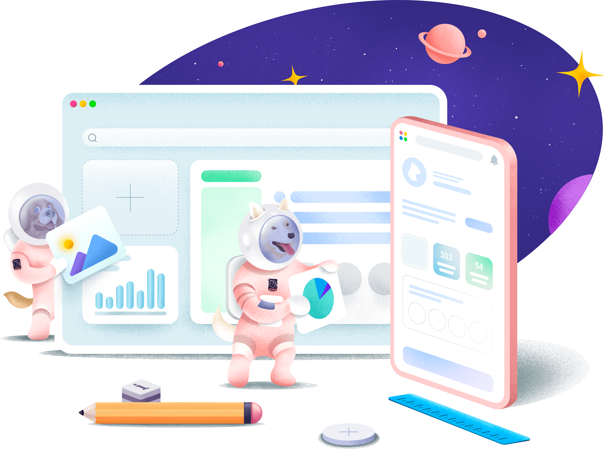 A group of space dogs building apps and websites