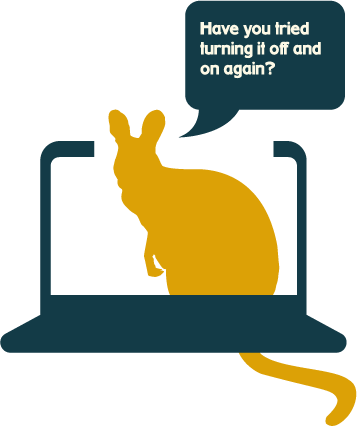Wallaby-icon-in-laptop-asking-have-you-tried-turning-it-off-and-on-again