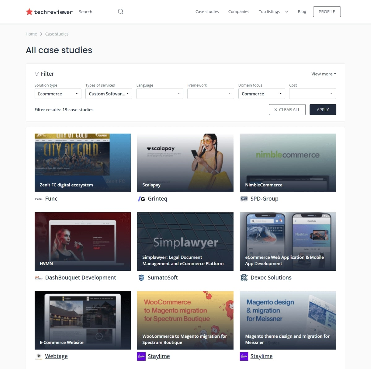 Case studies gallery on TechReviewer