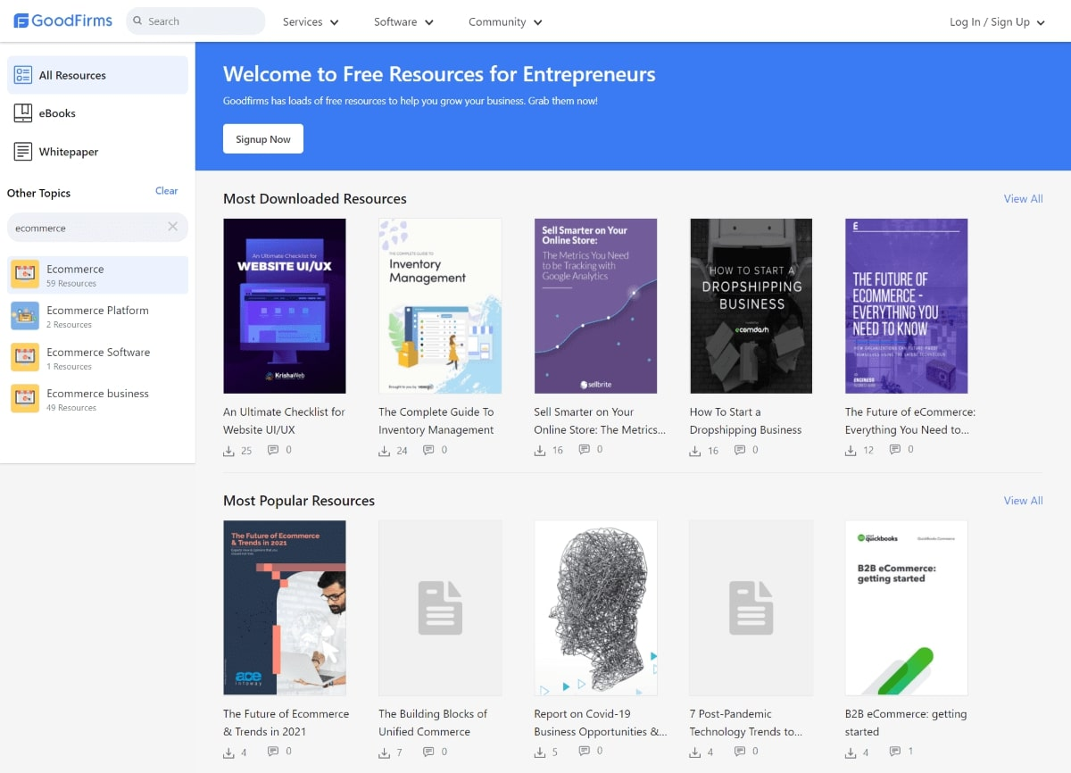 The Resourses section on Goodfirms