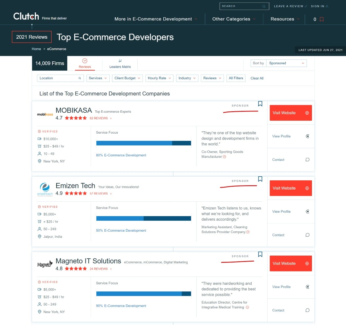 Sponsored profiles of top ecommerce developers on Clutch