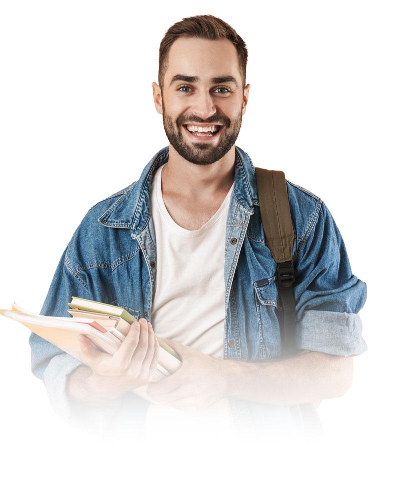 Ein junger Student mit einer Bibel