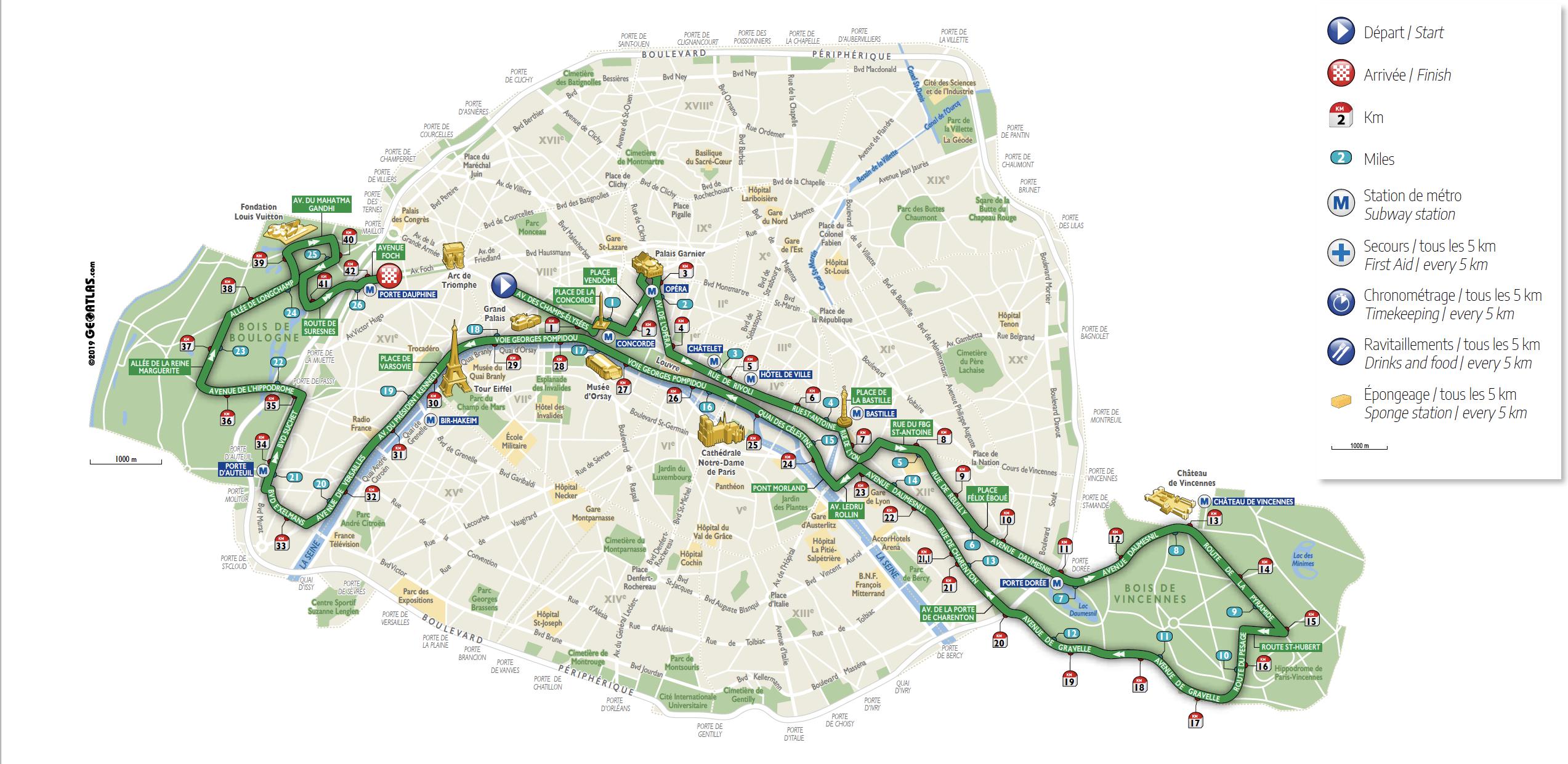 Parcours du Marathon de Paris 2021