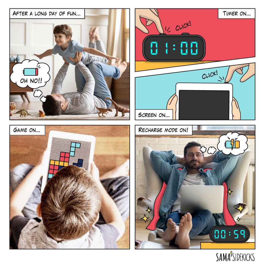 A dad has set the timer and on screen time for his son to gain some rest