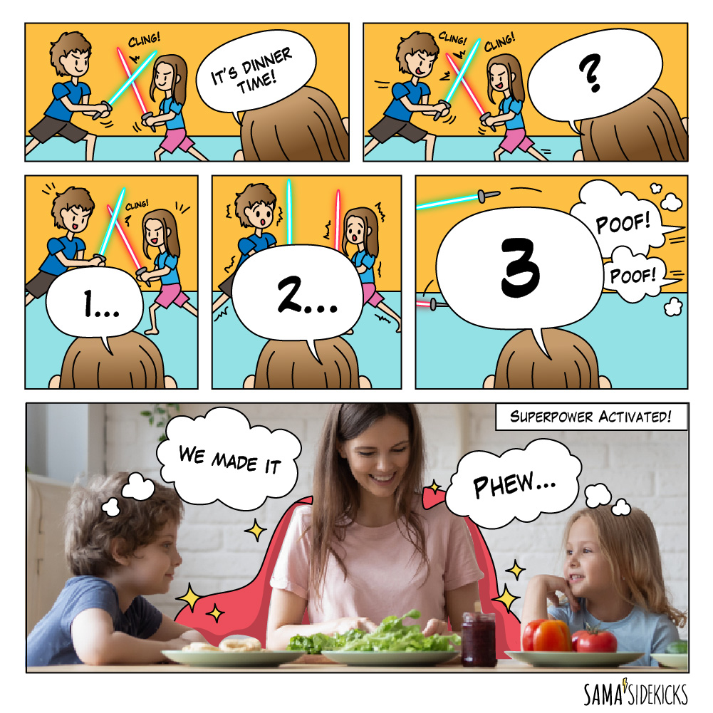 Two little kids ran to the dinning table while their mum was counting 1, 2, 3.