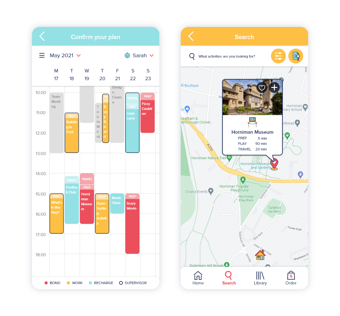 Planning with calendar and maps from SAMA Sidekicks application