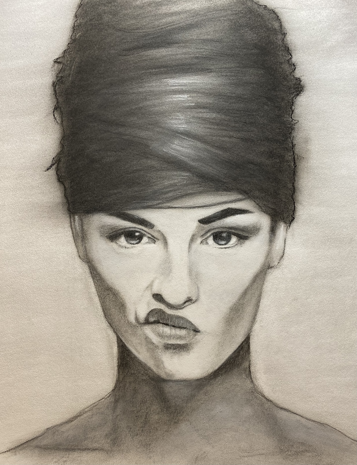 Charcoal study from reference found on Pinterest. The exercise was trying to get a nice organic hair on the model. Work was Alphacolor, and Conte crayon, with Nitram charcoal powder. I used a Hake brush to soften up the work.