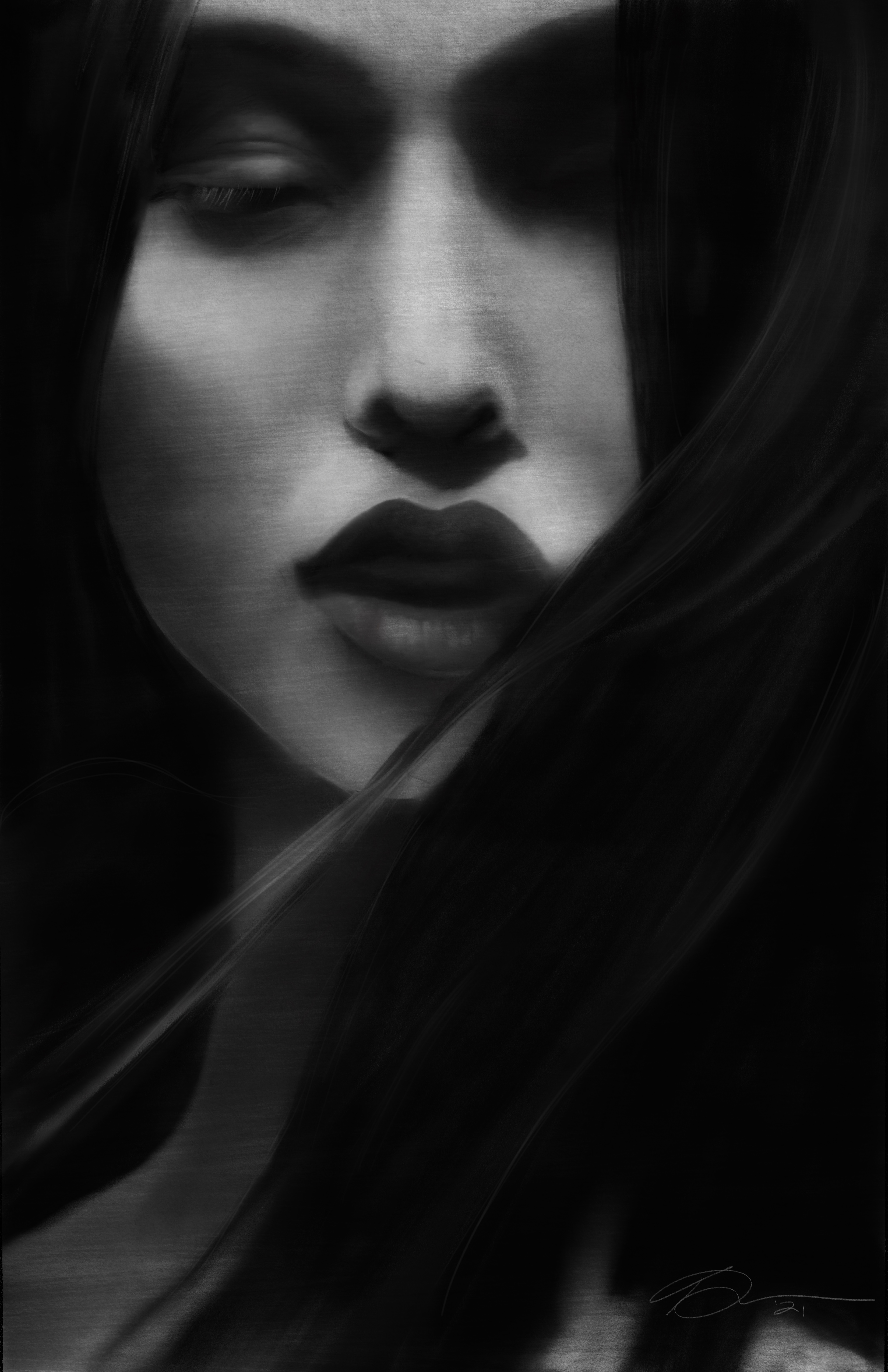 Facial Study - Girl dark atmospheric 2021