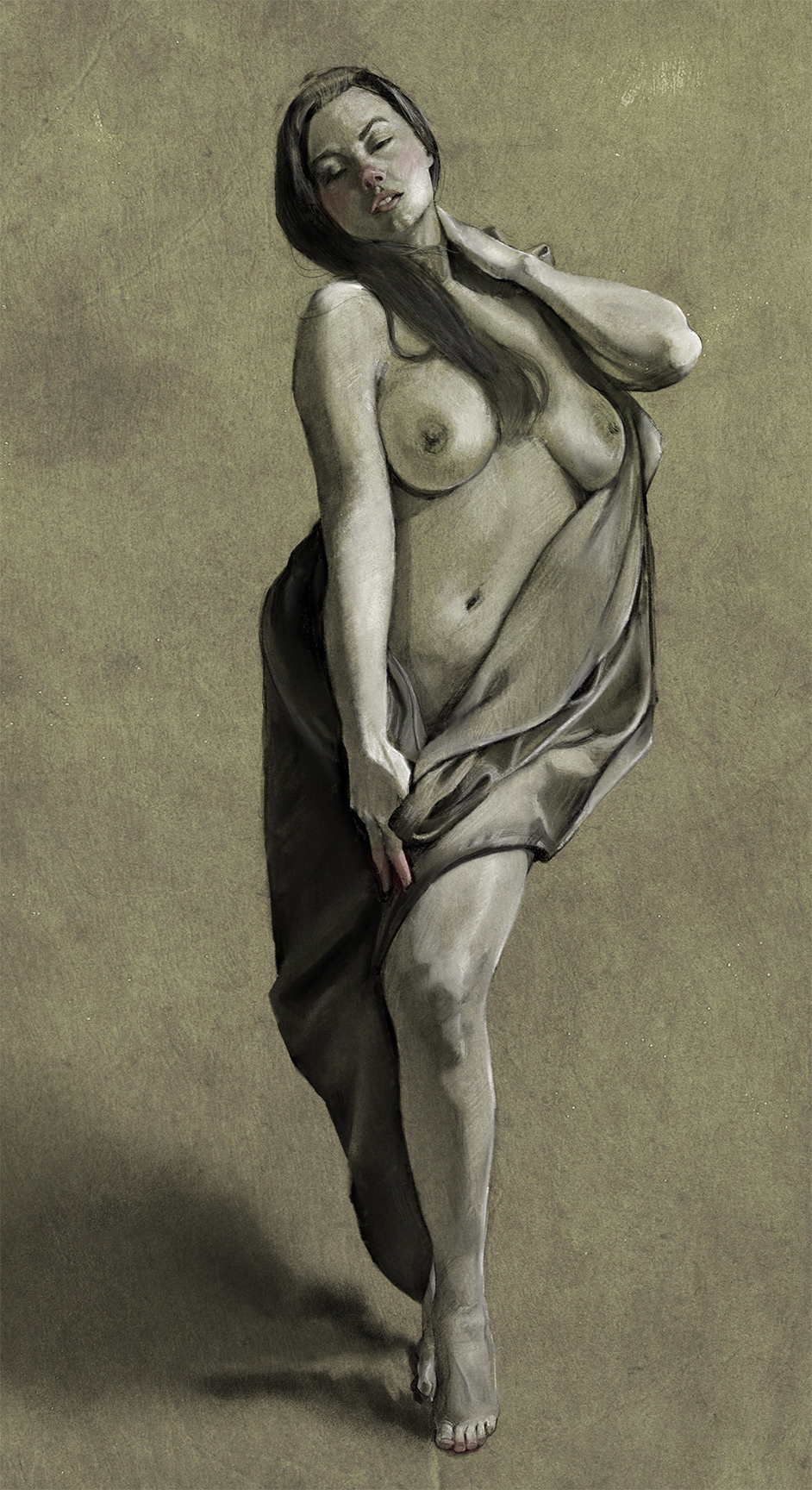 Nude with Fabric