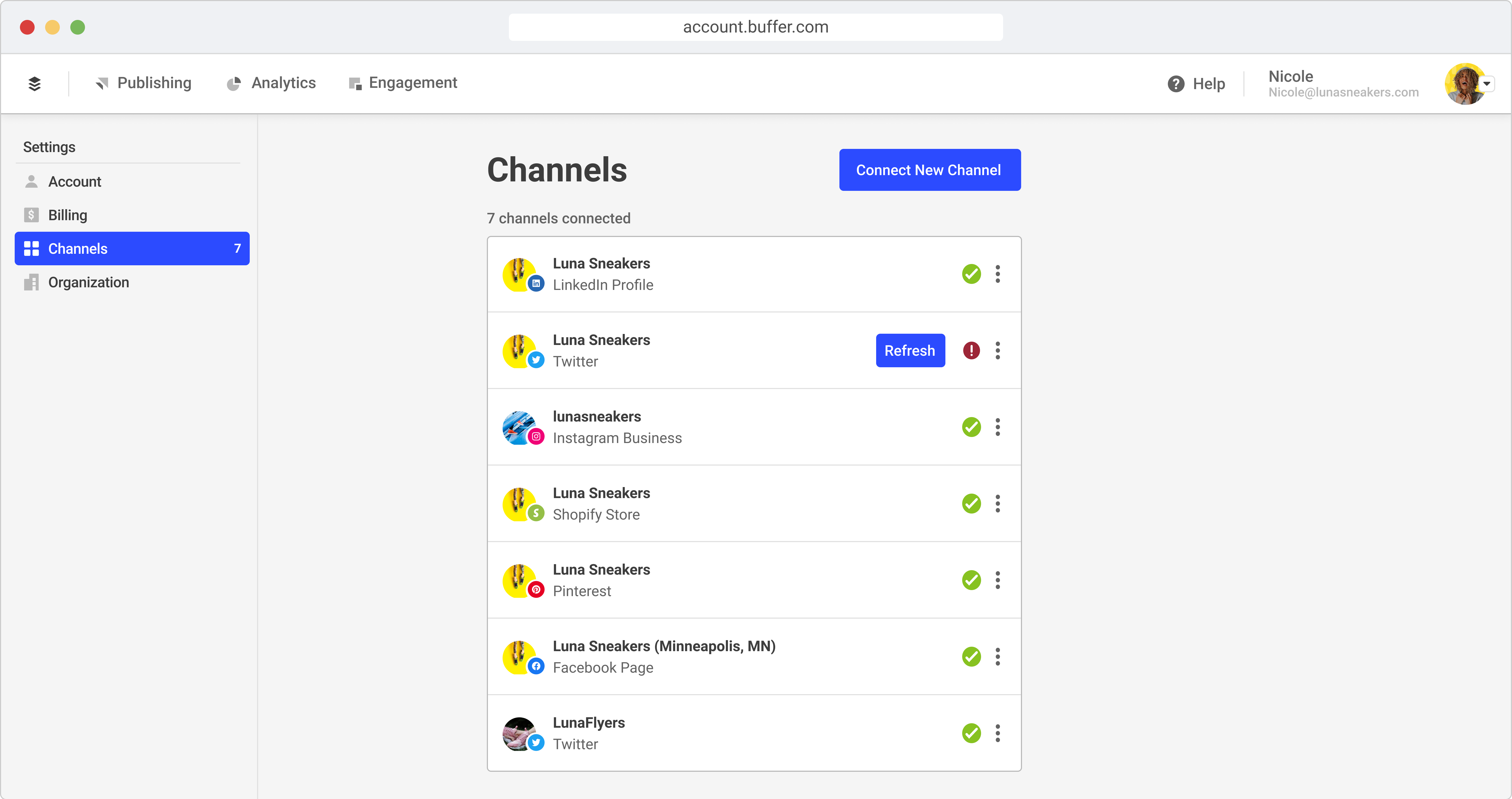 Mockup of channels list screen
