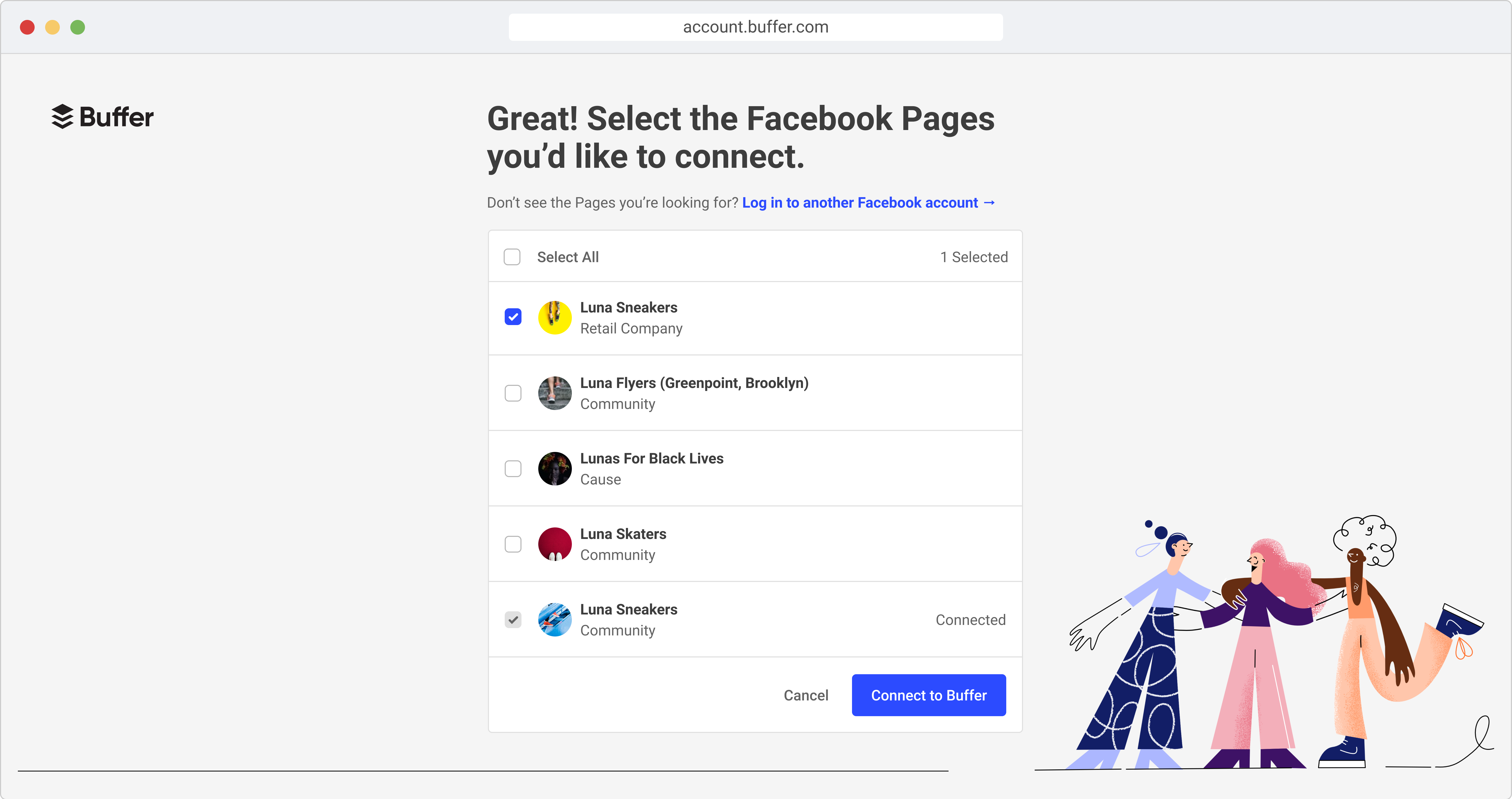 Mockup of screen to select Facebook Pages