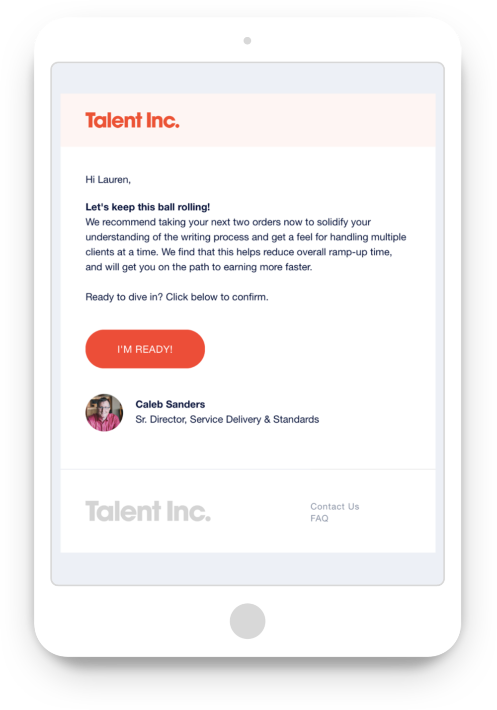 Tablet view of an onboarding email
