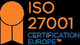 ISO 27001 certificate badge.