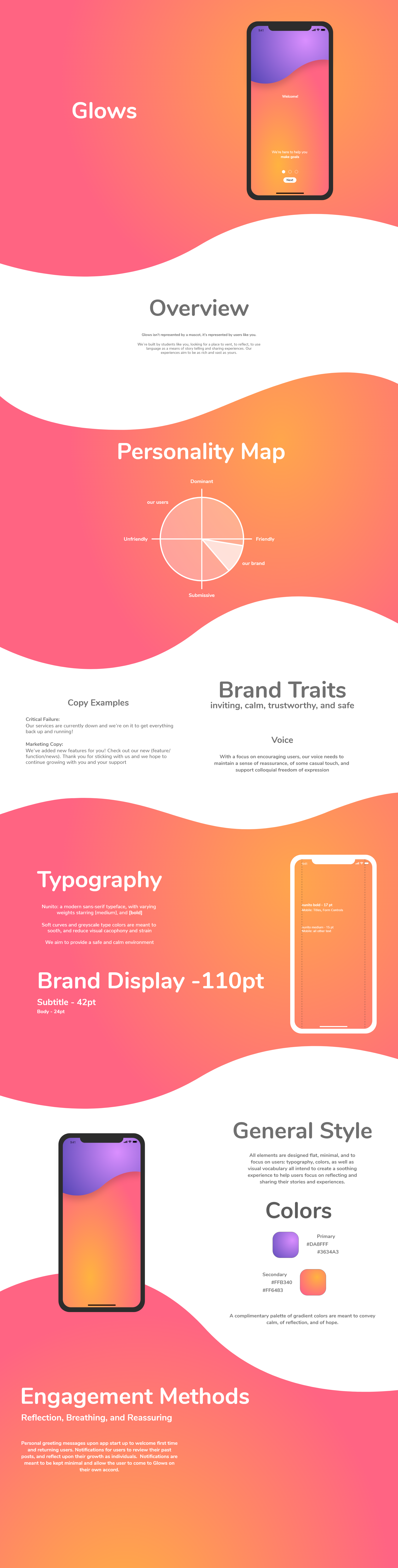Glows app including mock ups, brand traits, typography and color choices.