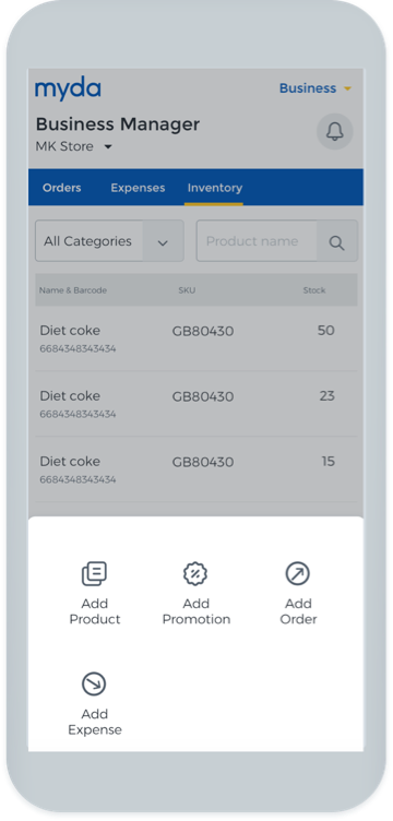 The myda business manager mobile shopping app.